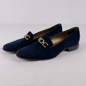 Cole Haan City Blue Suede Gold Link Loafers